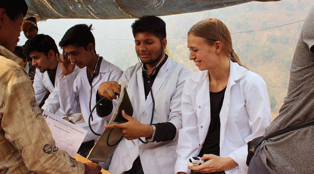 Medicine interns running medical checks on local communities in Nepal